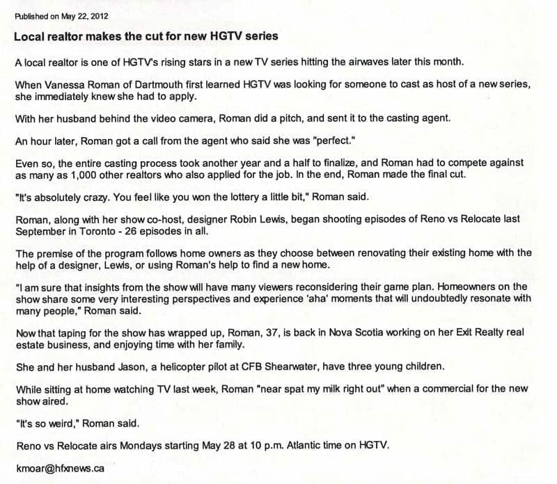 PRESS: Halifax NewsNet - Local Realtor Makes Cut For New HGTV Show ...